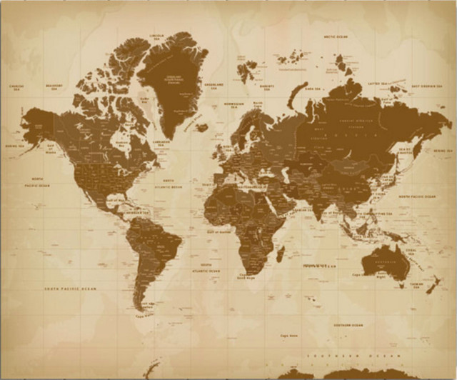 Vintage Looking World Map.Vintage Style Worldmap Mounted On Foam Board 20 X24 Contemporary