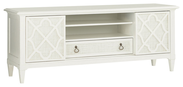 Tommy Bahama Home Ivory Key Wharf Street Entertainment Console table, White
