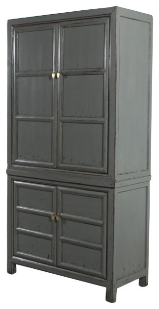 Gray Armoire Tall Cabinet Traditional Armoires And Wardrobes