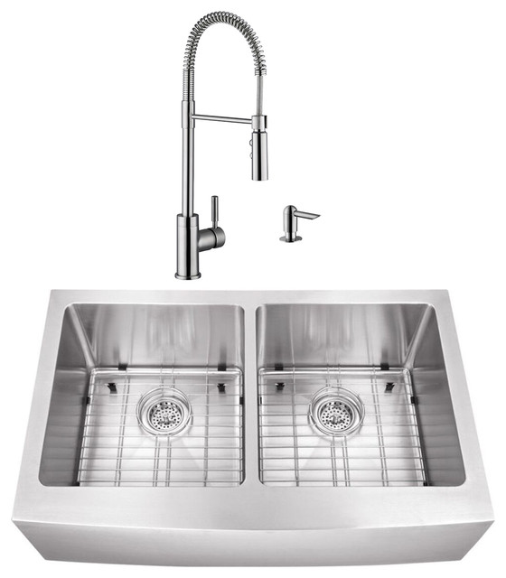 32 88 50 50 Apron Front Stainless Steel Kitchen Sink And Industrial Faucet