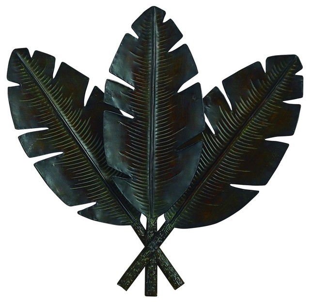 Metal palm fronds wall decor set of 3 tropical metal for Tropical metal wall art