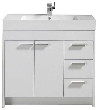 Lugano Modern Bathroom Vanity With Integrated Acrylic Sink White 36