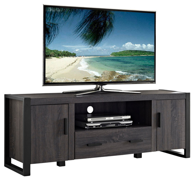 Oliver Wood Media Console Charcoal 60quot Transitional  : transitional entertainment centers and tv stands from www.houzz.com size 640 x 594 jpeg 85kB