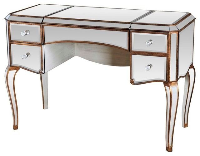 Jewelry Desk With Mirrored With Gold Trimmings
