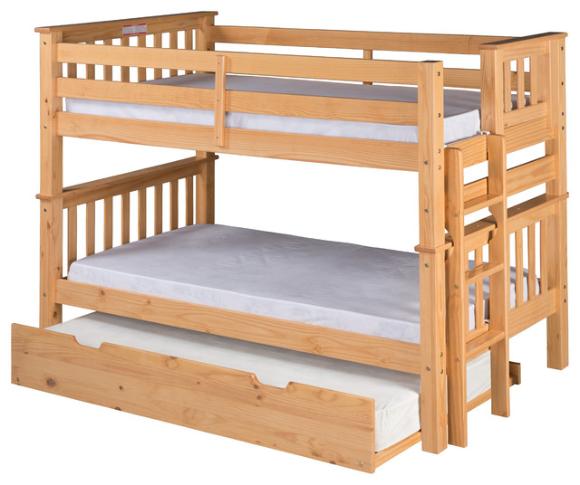 Santa Fe Mission Low Bunk Bed Twin Over Twin End Ladder Twin Trundle Natural