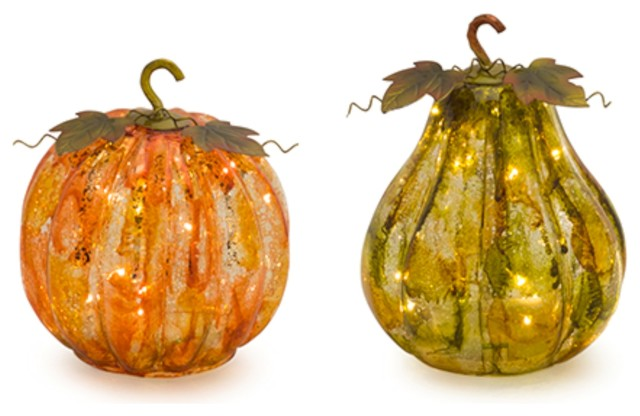 2-Piece Glass Pumpkin And Gourd With Lights And Timer Set.