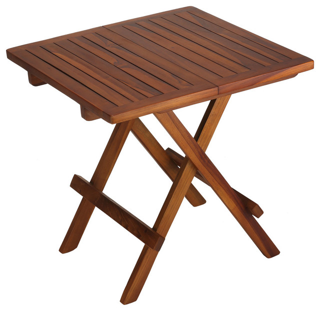 Bare Decor Ravinia Folding Teak Small Table Oiled Finish