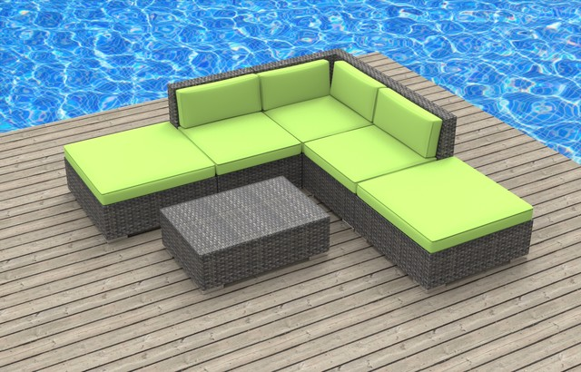 Modern Outdoor Sacramento Bali - 6pc Ultra Modern Wicker Patio Set: Lime Green modern-outdoor-lounge