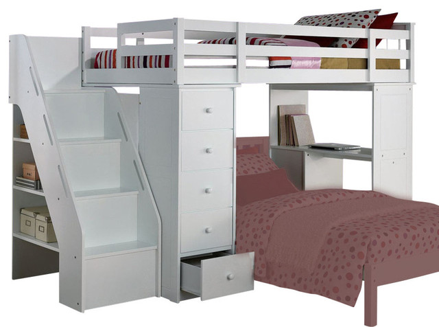 Acme Freya Loft Bed With Bookcase Ladder White