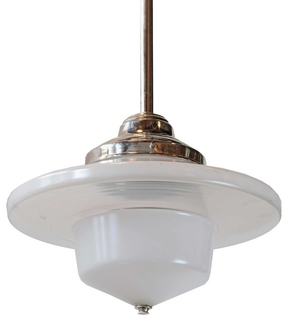 consigned pendant with early american shade contemporary