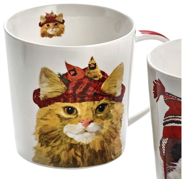 Cats in Hats Mug, Amanda, Cute Kitty Wearing Plaid Winter Cap