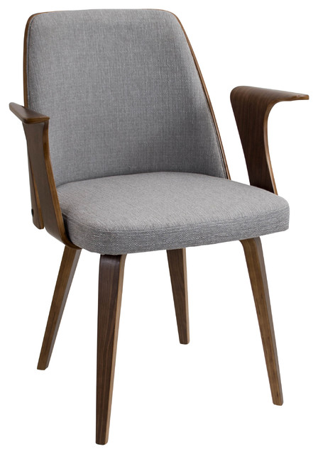 High Quality Verdana Mid Century Modern Walnut Wood Chair, Gray Midcentury Dining Chairs