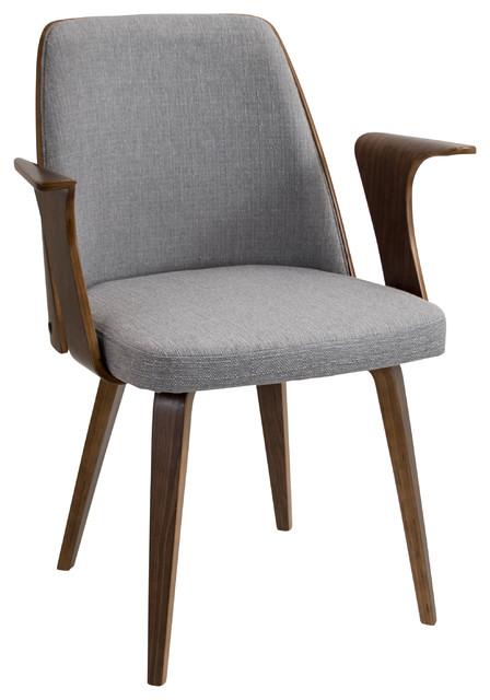 Verdana Mid Century Modern Walnut Wood Chair, Gray Midcentury Dining Chairs