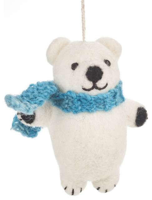 Felt So Good Cuddly Polar Bear Christmas Decoration - Contemporary - Christmas Ornaments - by Felt so good