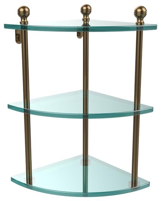 Triple Corner Glass Shelf, Brushed Bronze