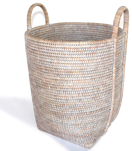 White Wash Rattan Round Laundry Basket With Loop Beach Style Hampers By Hudson Vine