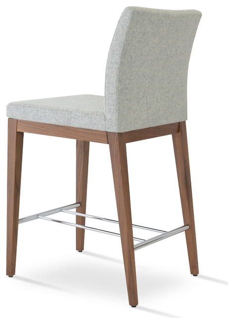 Walnut Color Solid Beech Area Counter Stool Contemporary