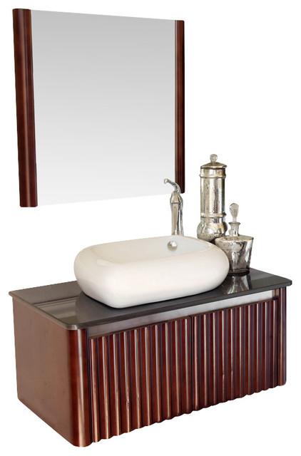 32.5 Inch Single Sink Vanity-Wood-Walnut.