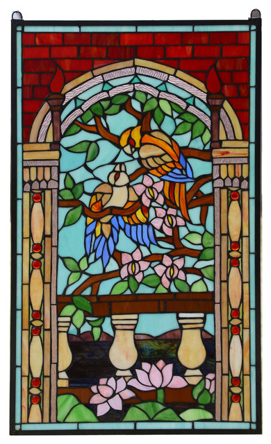 20 75 X 35 Handcrafted Stained Glass Window Panel Love Birds Two Parrots Glass Stained Glass