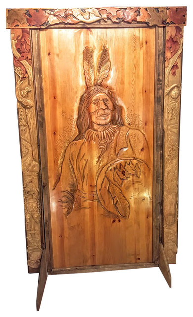Door Valence And Surround Hand Carved Wood Rustic