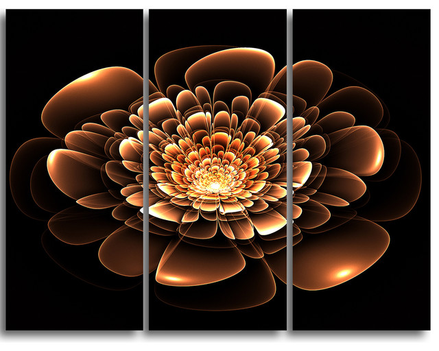 Glittering Brown Yellow Fractal Flower Wall Art 3 Panels 36 X28 Contemporary Prints And Posters By Design Art Usa