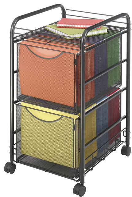 Onyx Mesh File Cart With 2 File Drawers.