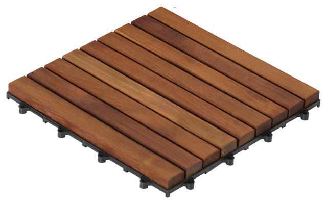 Bare Decor Ez-Floor In Solid Teak Wood, 1 Tile Only, Long Slat.