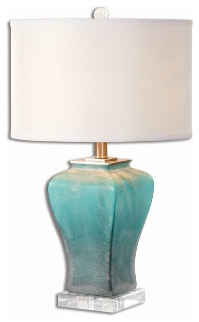 Turquoise Aqua Silver Contemporary Table Lamp Transitional Lamps