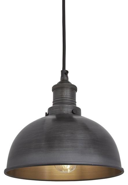 Brooklyn Dome Pendant - 8 Inch, Dark Pewter