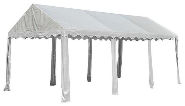 10&x27;x20&x27;/3x6m Party Tent, 8-Leg Galvanized Steel Frame, White.