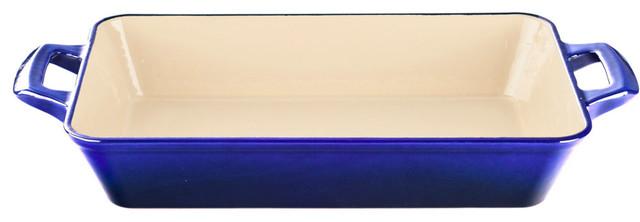 Medium Deep Cast Iron Roasting Pan With Enamel Finish, High Gloss Sapphire.