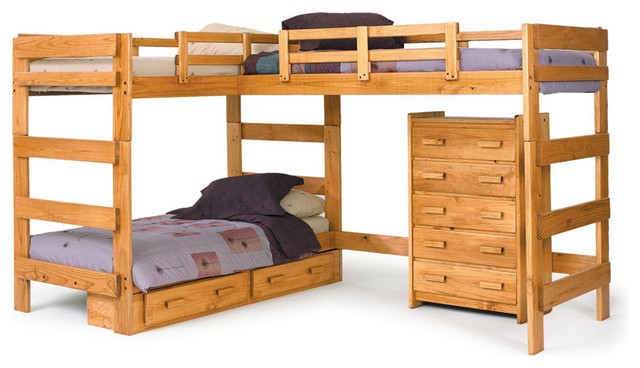 Chelsea Home L Shaped Loft Bed In Honey - With Storage.