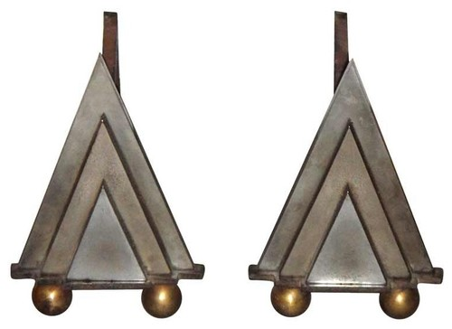 Andirons French Deco Circa 1930 modern fireplace accessories