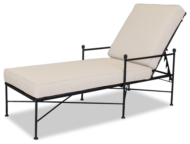 Provence Chaise Lounge With Cushions, Cushions: Canvas Granite.