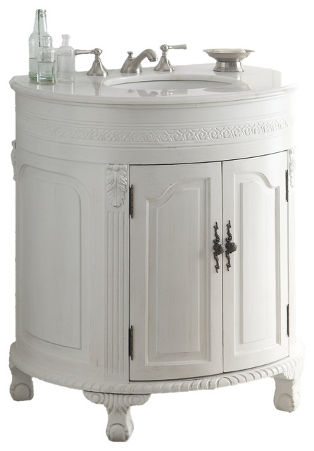 "32"" Antique White Versailles Bathroom Sink Vanity Cabinet, Cf-2869W-Aw - Traditional - Bathroom ..."