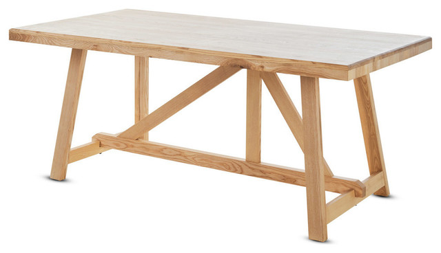 Magnificent Gdf Studio Nanpori Natural Finished Solid Ash Wood Dining Table Download Free Architecture Designs Rallybritishbridgeorg