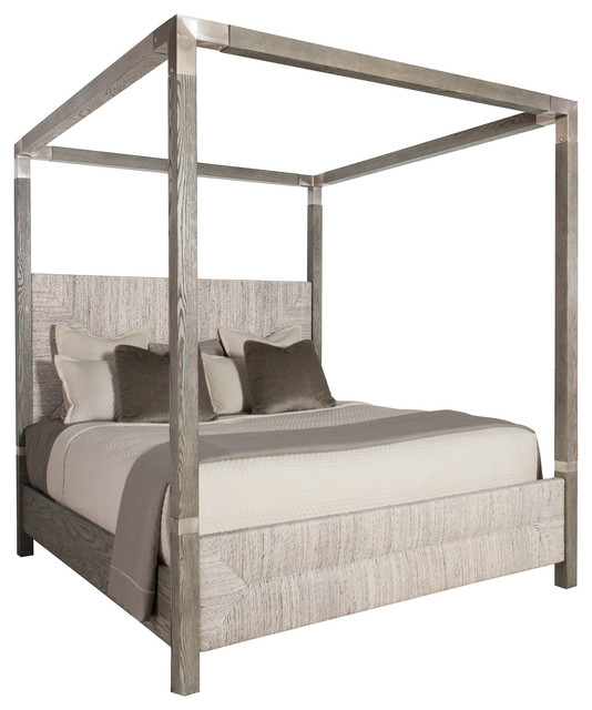 Clarcia Coastal Rustic Gray Abaca Nickel Canopy Bed Cali King Beach Style