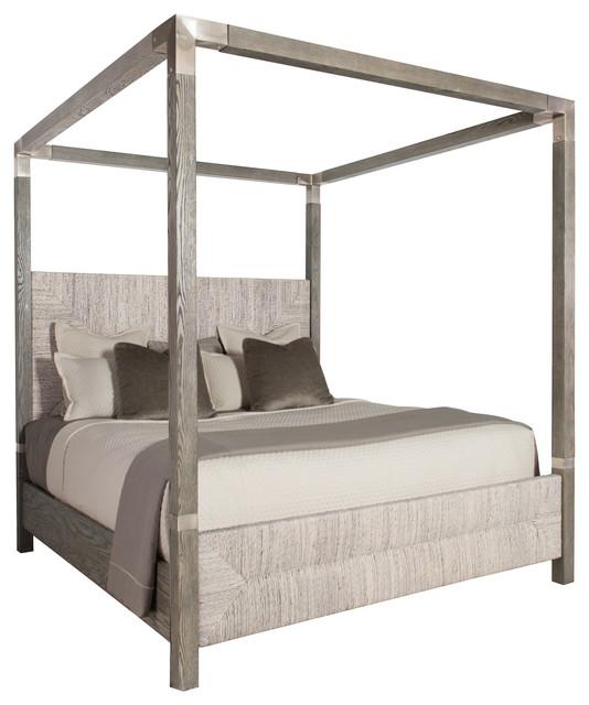 Clarcia Coastal Rustic Gray Abaca Nickel Canopy Bed, Cali King.