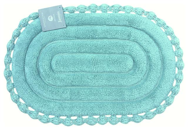 Echo Oval Aqua Spa Blue Cotton Bath Mat Rug with Crochet Border  21 x34. Echo Oval Aqua Spa Blue Cotton Bath Mat Rug with Crochet Border