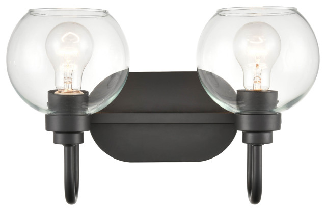 "2 Light 16.375"" Matte Black Vanity Light"