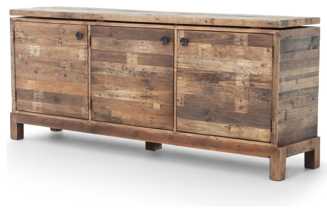 Hunter Rustic Lodge Reclaimed Wood 3 Door Cabinet Sideboard  rustic-buffets-and-sideboards - Hunter Rustic Lodge Reclaimed Wood 3 Door Cabinet Sideboard