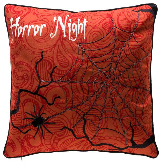 Horror Night Halloween Pillow, Orange.