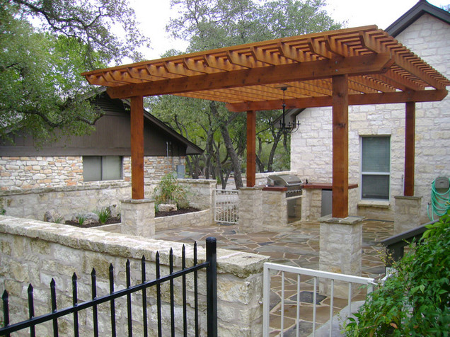 Wimberley outdoor kitchen and pergola for Outdoor kitchen ideas houzz