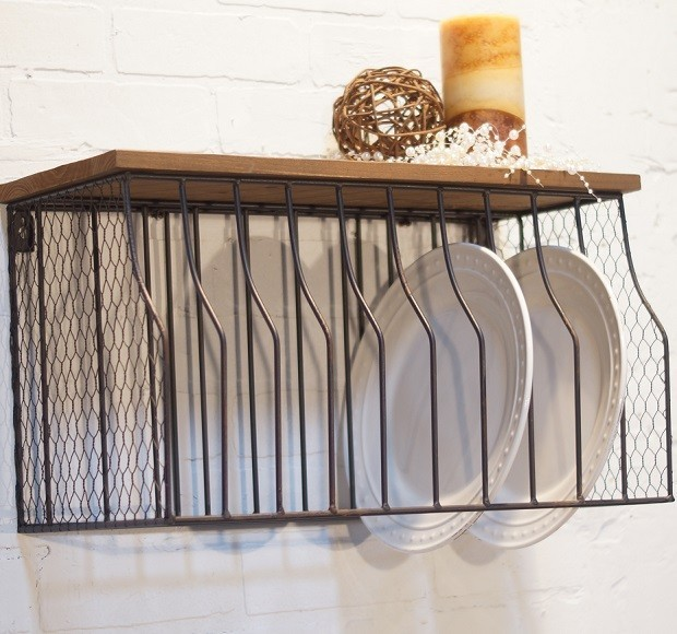 Metal Wall Mounted Plate Rack With Wood Top & Metal Wall Mounted Plate Rack With Wood Top - Miami - by Antique ...