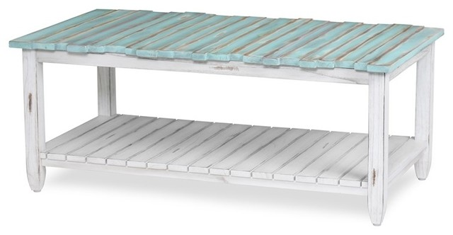 Picket Fence Coffee Table Distressed Blue White Beach Style Coffee Tables By Sea Winds Trading