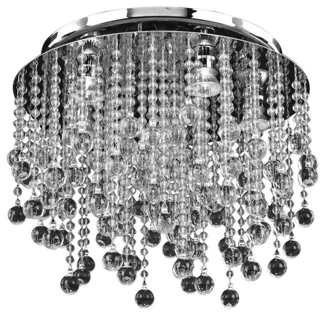 "17""w Smooth Beads And Balls Flush Mount Crystal Rain 566."