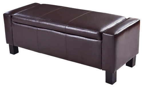 Costway PU Leather Ottoman Bench Storage Footstool Organizer Chair Brown