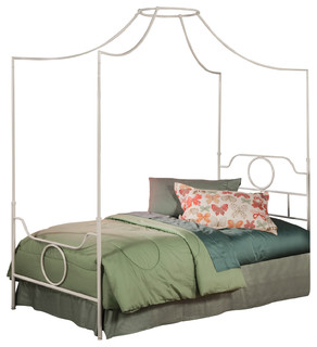 Emsworth Kids Metal Canopy Bed With Geometric Shape Design, White, Twin