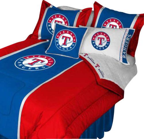 Store51 Llc Mlb Texas Rangers Bedding Set Baseball Bed