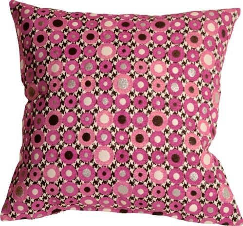 Pillow Decor - Houndstooth Spheres 18 X 18 Pink Throw Pillow.